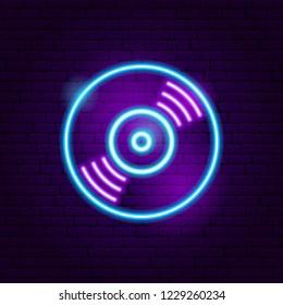 Vinyl Neon Sign. Vector Illustration of Music Promotion.
