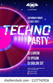 Vinyl party poster 80s style with ultraviolet background and LP for Techno rave club nights. Advertising blue and purple leaflet or flyer with modern electronic music dance party