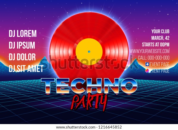 Vinyl Party Poster 80s Style Arcade Stock Vector (Royalty