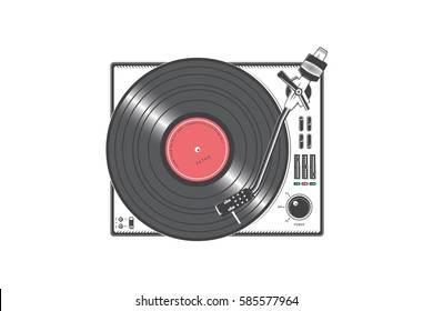 Vinyl player with a vinyl disk. Detailed elements. Old retro vintage grunge. Typographic labels, stickers, logos and badges. Flat vector illustration