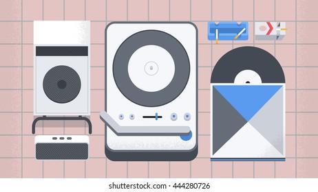 Vinyl player and speaker / hipster lifestyle / flat illustration good for web banner / magazine