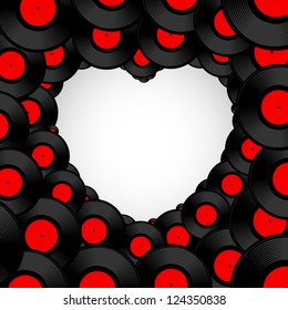 Vinyl record background in shape of heart with space for text. Vector illustration.