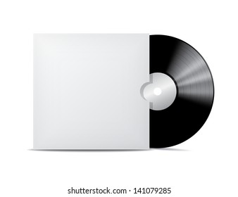 Vinyl record in blank cover envelope. Vector illustration