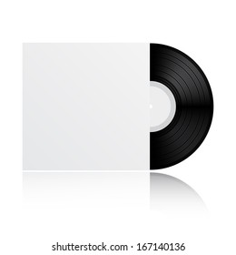 Vinyl record with blank cover isolated on white background
