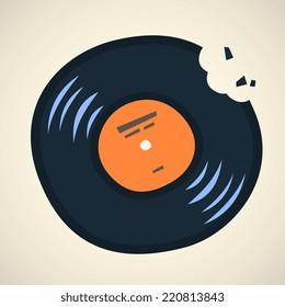 vinyl record, cartoon flat style vector illustration