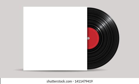 Vinyl Record with Cover Mockup, realistic style. Retro design. Front view - Vector