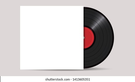 Vinyl Record with Cover Mockup, realistic vector style . Retro design. Front view - Vector