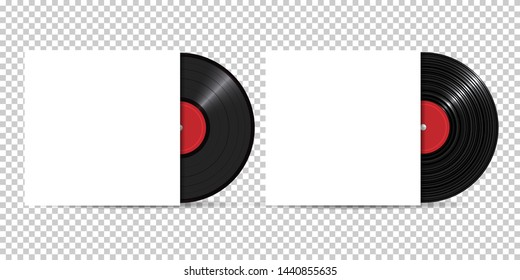 Vinyl Record with Cover Mockup, realistic style, set. Retro design. Front view - Vector