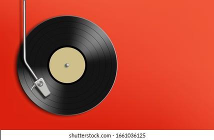 Vinyl-Schallplattenscheibe. Musikhintergrund mit Kopienraum. Vektorillustration.
