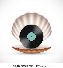 Vinyl record disc in a sea shell. Vector icon.