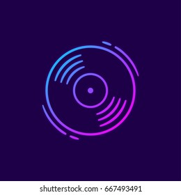 Vinyl record disc, thin line icon or logo for web or app in bright neon colors.