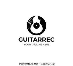 Vinyl record and electric guitar logo template. Guitar music disc vector design. Gramophone vinyl record logotype