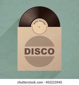 Vinyl record with envelope. Retro design vector illustration