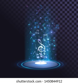 Vinyl record and glowing notes, music, disco, DJ