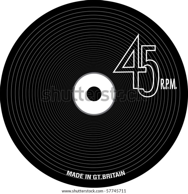 Vinyl Record Grooves 45 Rpm Text Stock Vector Royalty