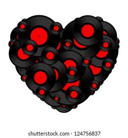 Vinyl record heart. Vector illustration.
