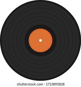 Vinyl record. Icon black vinyl record isolated on white background. Vector, cartoon illustration. Vector.