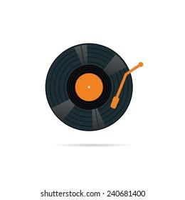 vinyl record icon in color vector illustration