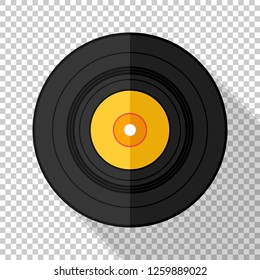 Vinyl record icon in flat style with long shadow on transparent background