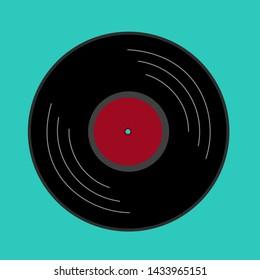 Vinyl record icon on blue background. Vector illustration.