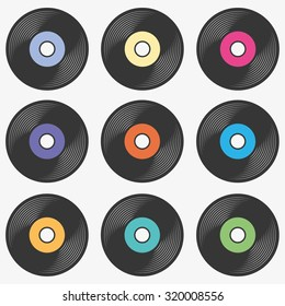 Vinyl record icon set in different label colors, lp record symbol