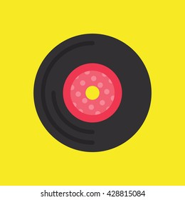 Vinyl Record Icon Vector Yellow Background, Music Vector