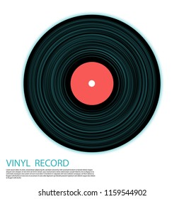 Vinyl record isolated vector musical album cover template. Retro music symbol, vintage style vinyl record vector illustration in black, pink and blue. DJ jukebox plastic element, music disk logo.