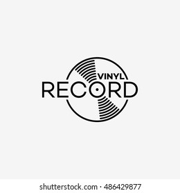 Vinyl record logo template design. Vector illustration.