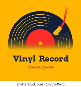 vinyl record music design vector illustration with yellow background graphic for logo,icon,etc.