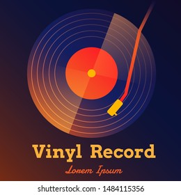 vinyl record music vector abstract with gradient  background graphic
