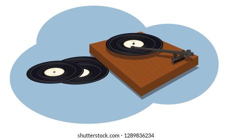 A vinyl record player