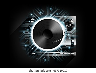 Vinyl record player turntable on black background and long shadow with technology concept, Vector