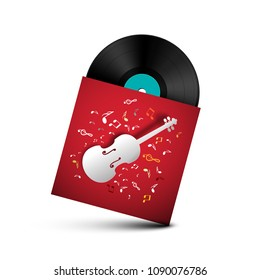 Vinyl Record - Retro LP Disc in Red Paper Cover with Violins and Notes