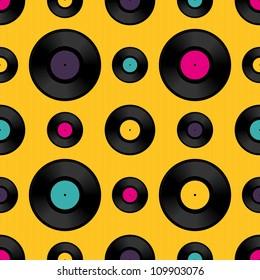 Vinyl record seamless background pattern. Vector illustration.