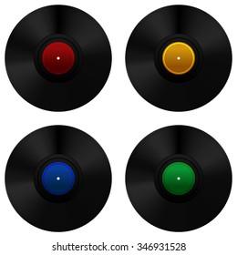 Vinyl record set. Vector Illustration