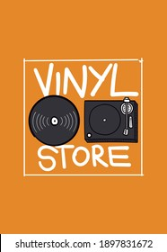 vinyl record store vintage music turntable