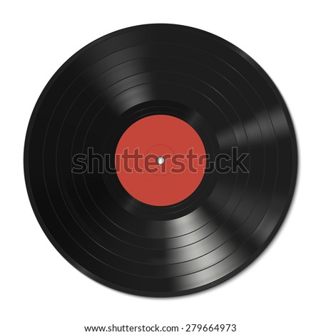 Vinyl Record Template With Red Label