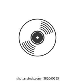 Vinyl record vector icon, compact CD disk, DVD disc gramophone record symbol, rotating record disc, flat vinyl lp, cartoon vinyl record label, cover emblem modern simple illustration design isolated
