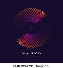 Vinyl record. Vector illustration music on dark background.