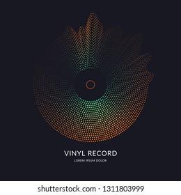 Vinyl record. Vector illustration music on dark background.