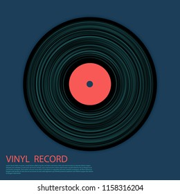Vinyl record vector musical album cover template. Retro music symbol, vintage style vinyl record vector illustration in black, pink red nd cyan blue. DJ jukebox plastic element, music disk logo icon.
