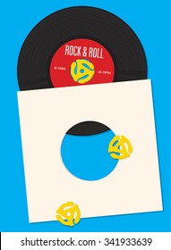 Vinyl record vector template featuring illustration of 45 rpm spindle adapters. Great for party invitation. Easy to edit and fully scalable.