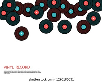 Vinyl records falling vector musical background. Cool music symbols, vintage style vinyl records vector illustration in black, pink and blue. DJ jukebox plastic elements, music disk logo.