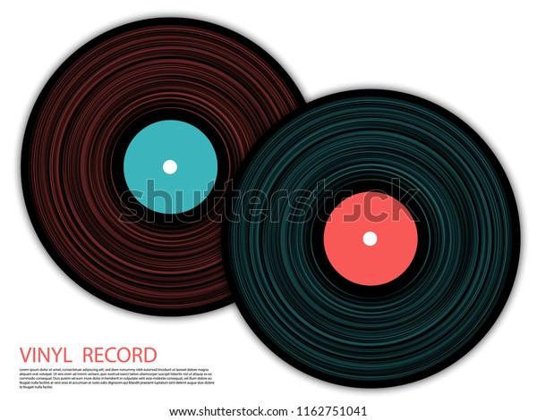 Vinyl Records Isolated Vector Musical Album Stock Vector (Royalty