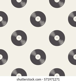 Vinyl records pattern. Music background vector illustration. Creative, luxury gradient style. Print cloth, clothing, wrap, wrapper, website, cover, label, banner, poster, emblem, CD, greeting, gift.