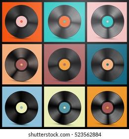 Vinyl Records. Retro LP Discs Set Vector Illustration.