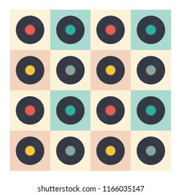 Vinyl records seamless pattern retro music albums in pop art style vector collection illustration