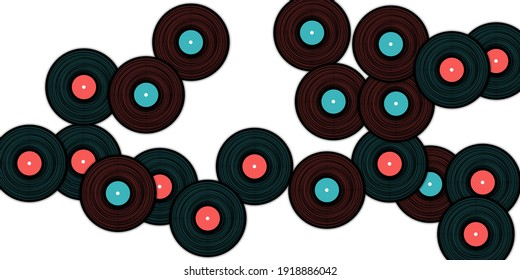 Vinyl records vector musical background. Retro music symbols, vintage style vinyl records vector illustration in black, pink and blue. DJ jukebox plastic elements, music disk logo.