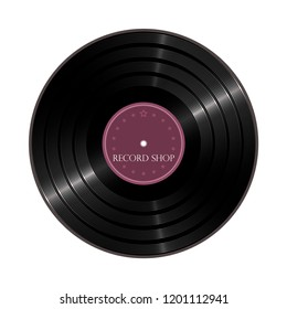 Vinyl shop label. Vector illustration of a vinyl disc.