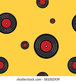 Vinyl turntable pattern world international DJ day party style perfect for fabric and gift paper on yellow background